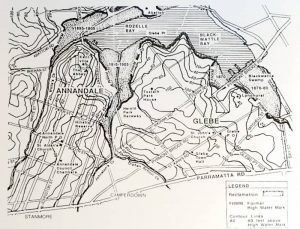 Topographical map of Glebe showing the original shoreline of Johnstons Creek as well as the reclaimed land that resulted from the creek's channelisation, which began in 1895 (source: Grandeur and Grit: A History of Glebe by Max Solling, Halstead Press, 2007).